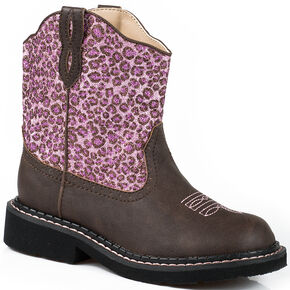 Roper Youth Girls' Pink Glitter Cheetah Chunk Cowgirl Boots - Round Toe , Brown, hi-res