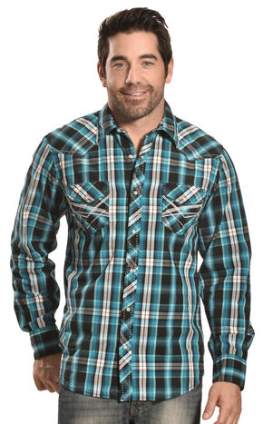 Ely Men's Turquoise Plaid 1878 Western Shirt , Turquoise, hi-res
