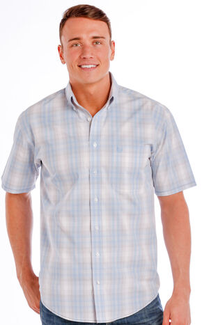 Panhandle Slim Men's Light Blue Rough Stock Ritter Vintage Ombre Plaid Shirt , Light Blue, hi-res