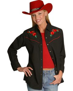 Ely Embroidered Red Roses Vintage Western Cowboy Shirt, , hi-res