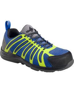 Nautilus Men's Blue Green Metal Free Wedge Sole Work Shoes - Comp Toe , , hi-res
