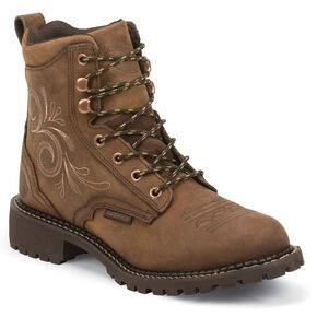 "Justin Original Workboots Women's 6"" Aged Bark Lace-Up Work Boots - Soft Round Toe, Brown, hi-res"