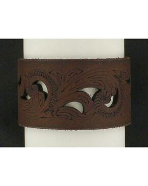Blazin Roxx Cutout Leather Cuff Bracelet, Brown, hi-res