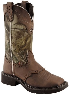 Justin Gypsy Real Tree Camo Cowgirl Boots - Square Toe, Aged Bark, hi-res