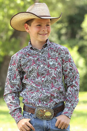 Cinch Boys' Multi Print Long Sleeve Shirt , Multi, hi-res
