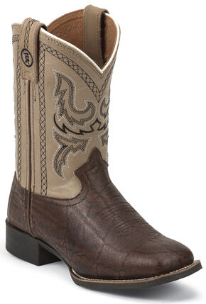Tony Lama Boys' Chocolate Elephant Print Boots - Square Toe , Brown, hi-res