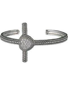 Montana Silversmiths Faith's Heart Cross Cuff Bracelet, , hi-res