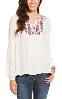 Ariat Women's White Clovis Top, , hi-res