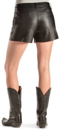 Cowgirl Justice Women's Black Faux Leather Shorts, , hi-res