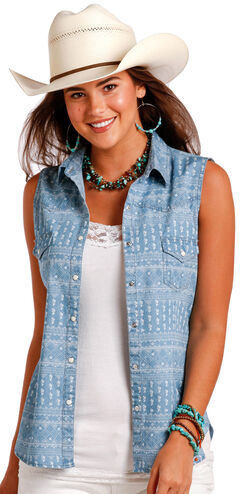 Panahandle Slim Women's Indigo Sleeveless Printed Snap Shirt , , hi-res