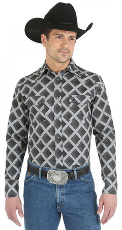 Wrangler George Strait Snap Pocket Grey Diamond Print Western Shirt - Big and Tall, , hi-res