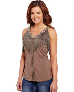 Cowgirl Up Women's Beaded Tank Top with Fringe Trim, , hi-res
