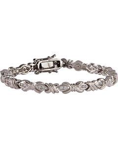 Montana Silversmiths Star Lights Barbed Wire Bows Link Bracelet, , hi-res