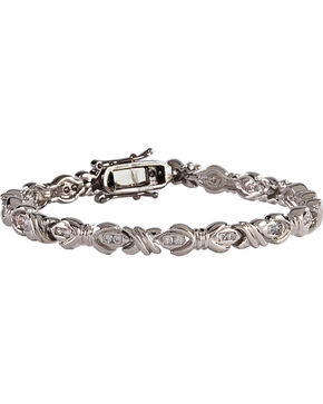 Montana Silversmiths Star Lights Barbed Wire Bows Link Bracelet, Silver, hi-res
