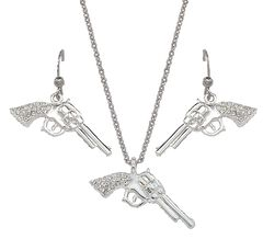 Montana Silversmiths Rhinestone Pistol Necklace & Earrings Set, , hi-res