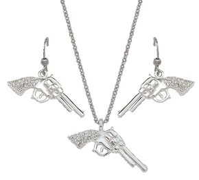 Montana Silversmiths Rhinestone Pistol Necklace & Earrings Set, Silver, hi-res