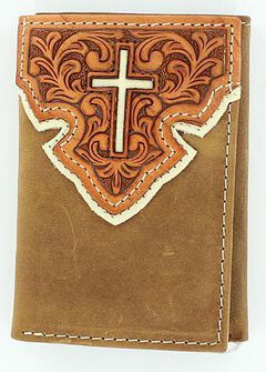 Nocona Tooled Overlay w/ Cross Inlay Tri-Fold Wallet, , hi-res