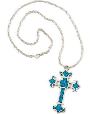 Turquoise Stone Cross Necklace, Silver, hi-res