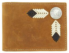 Nocona Buffalo Concho Leather Laced Bi-Fold Wallet, , hi-res