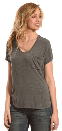 Derek Heart Women's Extended Cap Sleeve Hi Low Shirt - Grey, , hi-res