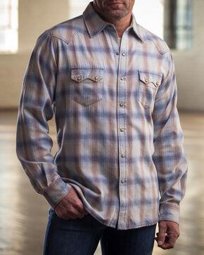 Ryan Michael Men's Blue Melange Plaid Western Shirt , Blue, hi-res