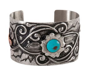 Montana Silversmiths Flower & Faux Turquoise Cuff, Silver, hi-res