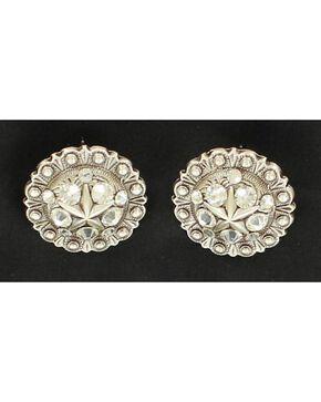 Blazin Roxx Rhinestone Concho Earrings, Silver, hi-res