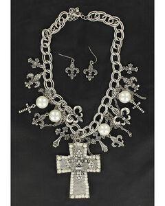 Blazin Roxx Cross & Fleur-de-lis Charms Cross Pendant Necklace & Earrings Set, , hi-res