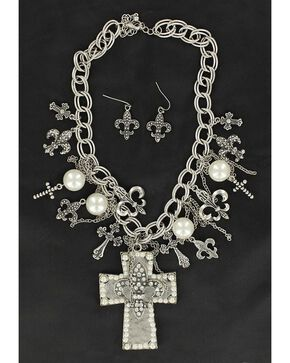 Blazin Roxx Cross & Fleur-de-lis Charms Cross Pendant Necklace & Earrings Set, Silver, hi-res