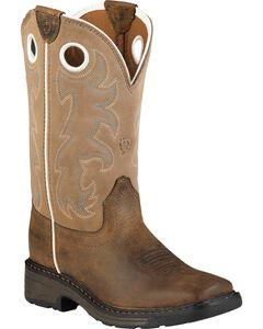 Ariat Child Distressed Workhog Boots - Square Toe , , hi-res