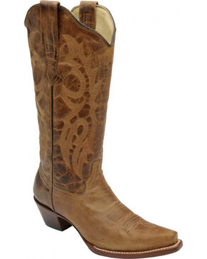 Corral Distressed Waxy Leather Fashion Cowgirl Boots - Snip Toe, Brown, hi-res