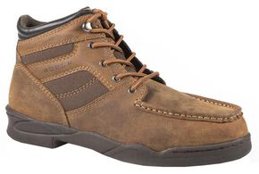 Roper Men's Moc Toe Horseshoe Boots, Tan, hi-res