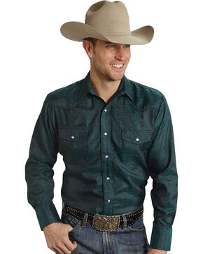 Roper Men's Tone On Tone Embroidered Western Shirt, Blue, hi-res