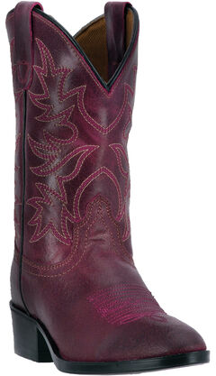 Dan Post Girls' Fuchsia Carter Cowgirl Boots - Round Toe, , hi-res