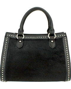 Montana West Delila Satchel 100% Genuine Leather Hair-On Hide Collection in Black, , hi-res