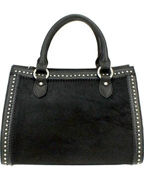 Montana West Delila Satchel 100% Genuine Leather Hair-On Hide Collection in Black, Black, hi-res