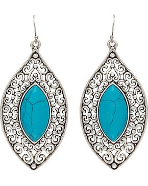 Wrangler Rock 47 Knotted Lace Blue Marquis Earrings, Silver, hi-res