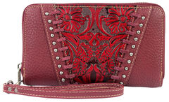Montana West Trinity Ranch Red Tooled Design Wallet, , hi-res
