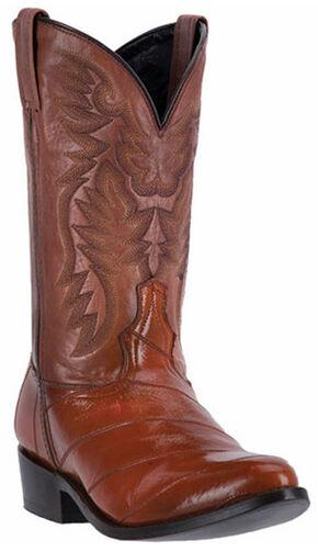 Laredo Marshall Eel Cowboy Boots - Round Toe, Cognac, hi-res