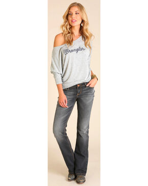 Wrangler Women's Off the Shoulder Logo Top , Hthr Grey, hi-res