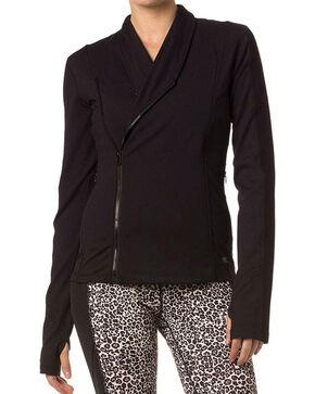 Miss Me Women's Side Zip Athletic Sweater, Black, hi-res