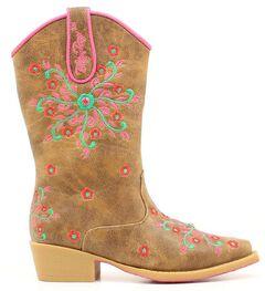 Blazin Roxx Girls' Savvy Embroidered Zipper Cowgirl Boots - Snip Toe, , hi-res