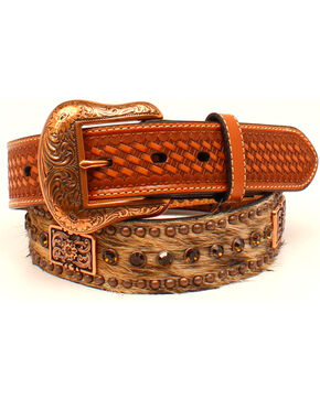 Nocona Men's Square Conchos Western Belt , Tan, hi-res