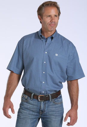 Cinch Men's Blue Geo Print One Pocket Short Sleeve Shirt , Blue, hi-res