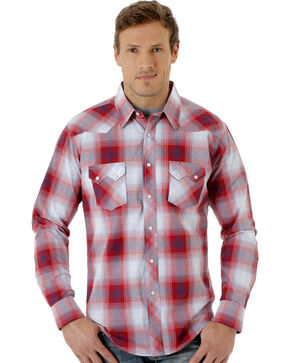 Wrangler Men's Red Long Sleeve Western Jean Shirt , Red, hi-res