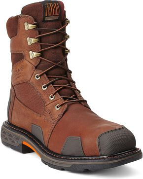"Ariat Overdrive 8"" Lace-Up Work Boots - Composition Toe, Chestnut, hi-res"