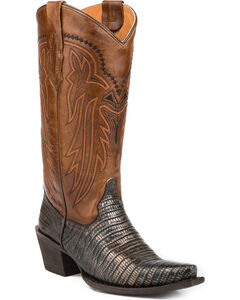 Roper Women's Lizzy Faux Metallic Teju Leather Cowgirl Boots - Snip Toe, , hi-res