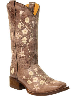 Corral Girls' Light Pink Embroidery Cowgirl Boots - Square Toe, Brown, hi-res