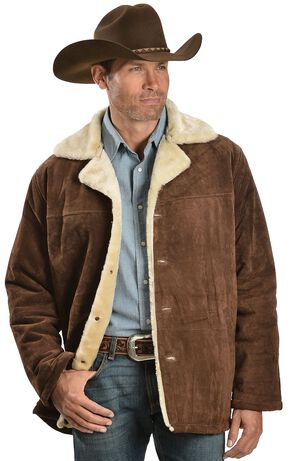 Red Ranch Sherpa Lined Suede Coat, Brown, hi-res
