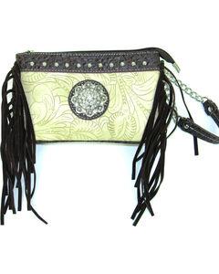 Savana Women's Ivory Tooled Crossbody/Wristlet with Fringe, , hi-res